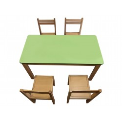 Kids Table and Chairs Set - Green Top