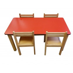Kids Table and Chairs Set - Red Top