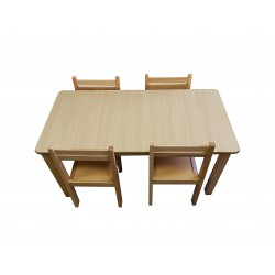 Kids Table and Chairs Set - Beech Color