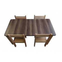 Kids Table and Chairs Set - Walnut Top